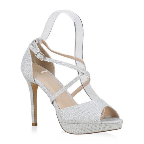 Damen Abiball Plateau Sandaletten Stilettos High Heels Party 826291 Schuhe