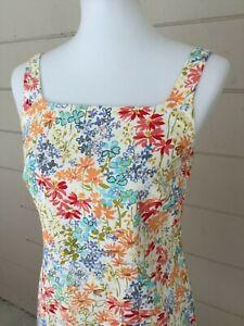 Ann-Taylor-Loft-Womens-Dress-Beige-Floral-Sundress-Blue-Print-Pink-Flowers-Sz-2