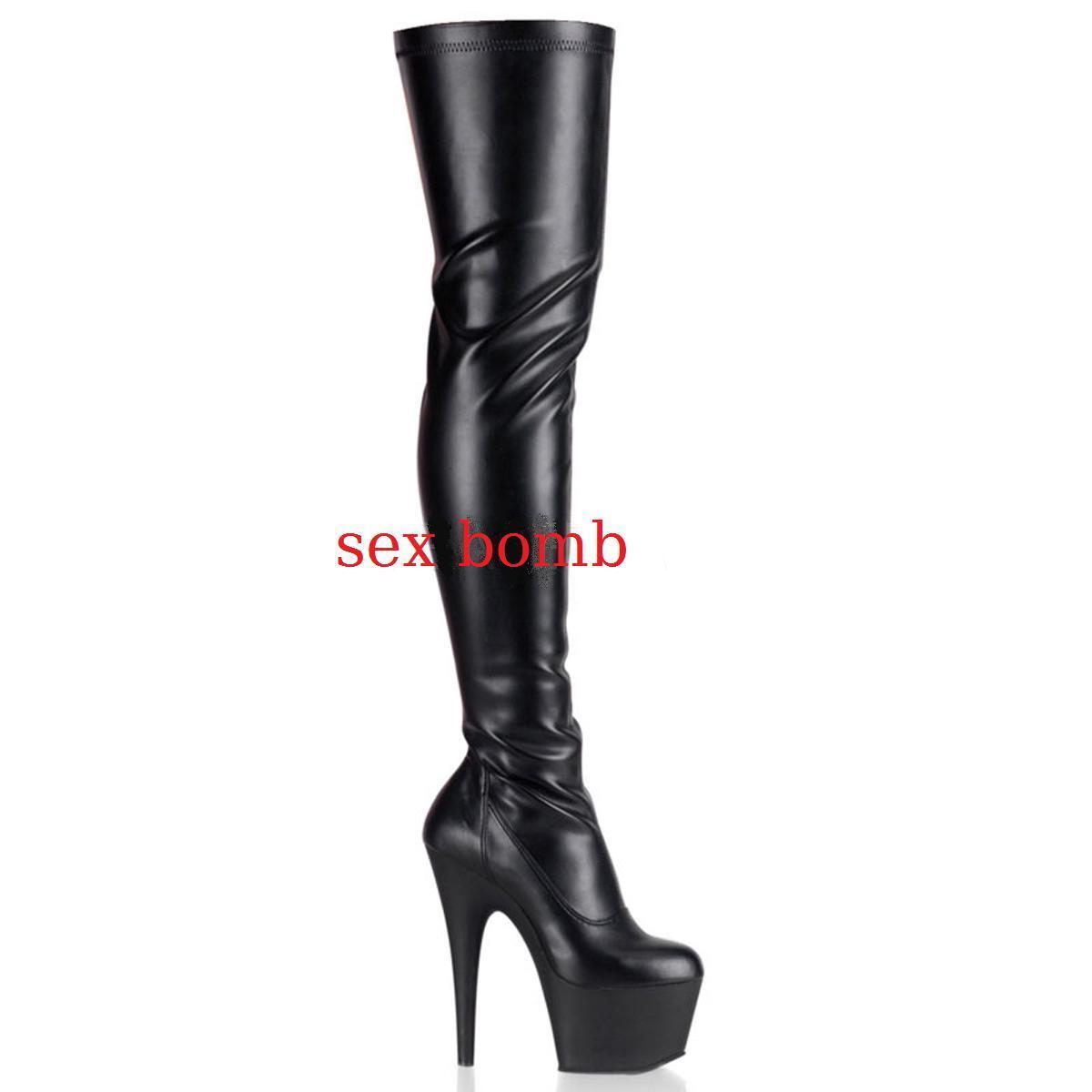 SEXY stivali COSCIA tacco 18 18 18 18 tacco NERO OPACO dal
