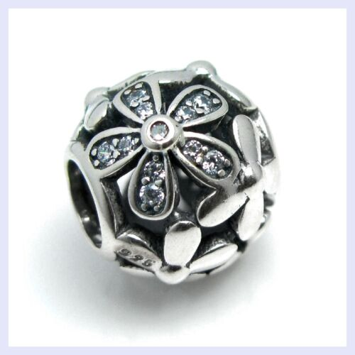 Sterling Silver Daisy Flower Blossom Clear CZ Bead for European Charm Bracelet