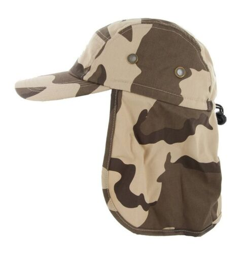 Baseball Cap Camping Hiking Fishing Ear Flap Sun Neck Cover Visor Camo Army Hat