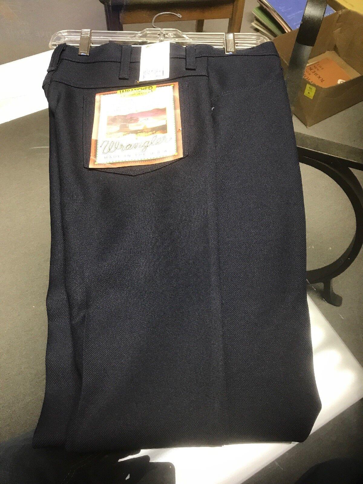 Wrangler USA Mens Navy bluee Wrancher Polyester Pants Dress Jeans 82NV 34x33