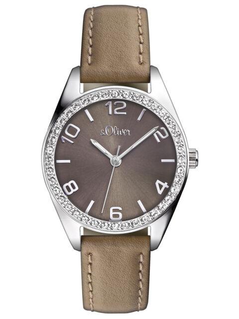 s.Oliver Damen Armbanduhr Casual Grau Beige Taupe Analog Quarz Leder SO-2547-LQ
