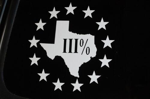 3 Percenter Texas State Sticker Vinyl Die Cut Decal Car Window Choose Size V307