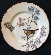 Assiette en porcelaine de Paris émaux monogramme RM Noublanche Paris XIXe Oiseau