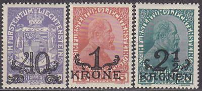 WohltäTig Liechtenstein Overprints 1920 Mi.: 14-16 **mnh** Cheap -billig !!