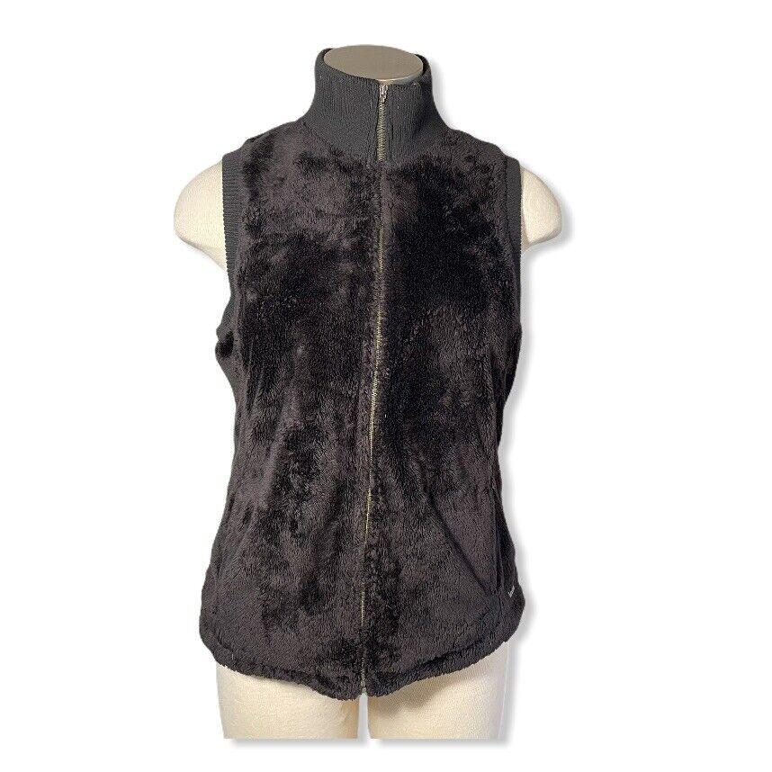 Prana Womens Vest Monkey Fleece Zip Black Fuzzy Fleece Sz. L