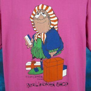 vintage-80s-REAL-WOMEN-SHOP-CARTOON-T-Shirt-LARGE-funny-old-joke-super-soft-thin