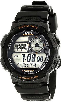 Casio Black World Time Map 5 Alarms 10 Year Battery Watch AE-1000W-1AV New