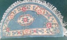 BRAND NEW 100% Wool Chinese Rug Carpet,BLUE Halfmoon pink beige Rose Floral