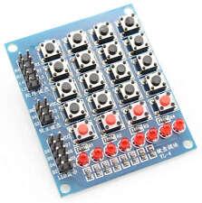 Teclado pulsadores matriz 4x4, 4 independiente, 8 LED