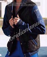 Victoria's Secret Pink Lace Varsity Jacket Navy Blue/black p Size S