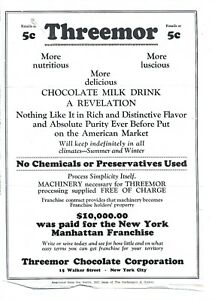 THREMOR CHOCOLATE MILK DRINK FLYER N.Y. CITY  Dated  1927