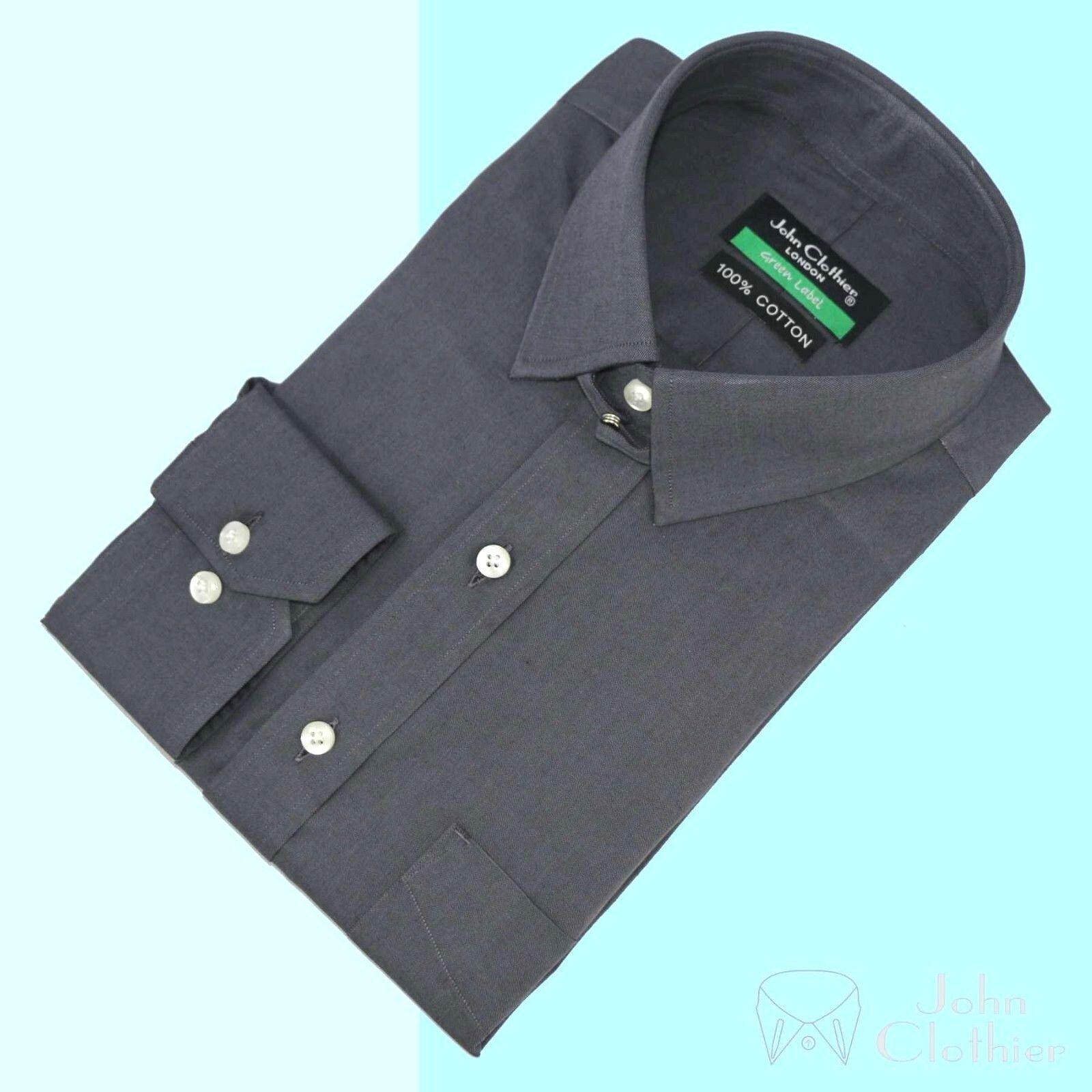 Herren Tab Kragen Hemd Graues Shirt Bankier- Schlaufe James Bond für 100% Cotton