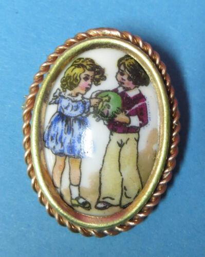 Antique Brooch Brass And Porcelain Limoges Decor C
