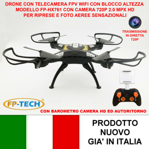 DRONE QUADRICOTTERO RADICOMANDATO HEADLESS WIFI FPV CAMERA HD VIDEO FOTO USB LED Droni e modellismo dinamico
