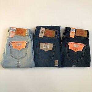 Nuevo Con Etiquetas Levis Hombre 501 Original Fit Straight Cierre De Botones Denim Jeans 30 31 32 33 34 36 Ebay