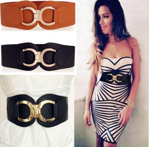 Lady Wide Fashion Belt Women Gold Buckle Black Cinch Waist Belt Elastic Stretch
