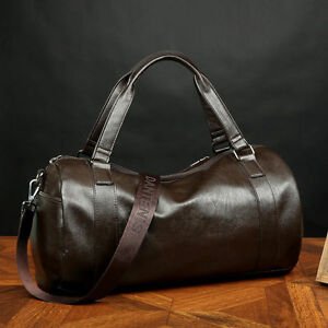 Men-039-s-Large-Leather-Vintage-Travel-Gym-Bag-Weekend-Overnight-Duffle-Bags-Brown