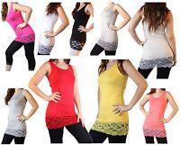 Damen Tank Top Long Top Shirt mit spitze in verschiedenen farben Neu