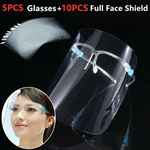 10pc Clear Full Visor Hat Sand Dustproof Face Shield with 5pc Glasses Protective