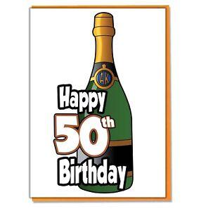 Bottiglia Di Champagne 50 Biglietto Auguri Compleanno Uomo Donna