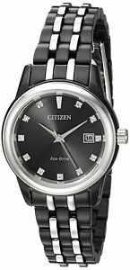 Citizen-Eco-Drive-Women-039-s-Diamond-Hour-Markers-Black-28mm-Watch-EW2398-58E