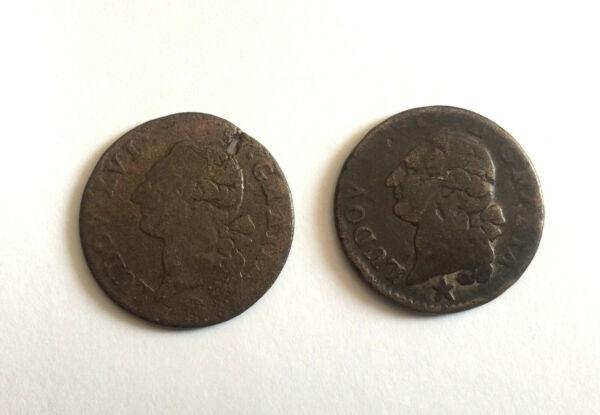 2 Pièces Louis Xvi Sol à L'écu 1788, 1789, Lille, Monnaie Royale, Bronze, Cuivre Texture Nette