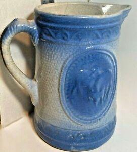Great-Vintage-Salt-Glaze-Blue-amp-White-Stoneware-Cows-Milk-Pitcher-circa-1800s