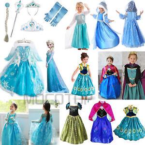 Cosplay-Frozen-Prinzessin-Elsa-Anna-Kleid-Krone-Handschuhe-Peruecke-Maedchenkostuem