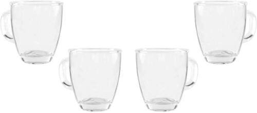 Ideal Clear Glass Tea or Coffee Mug 4 Tea Cup 11.5 Oz Set of