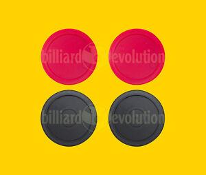 "Set of 4 Air Hockey Pucks - 2 Red Round + 2 Black Round Pucks - 2-1/2"" Diameter"
