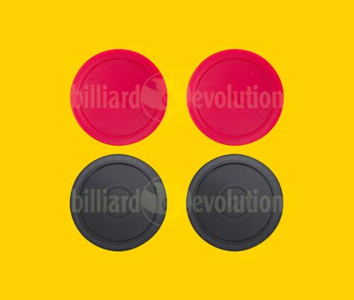 Set of 4 Air Hockey Pucks - 2 Red Round + 2 Black Round Pucks - 2-1/2 Diameter