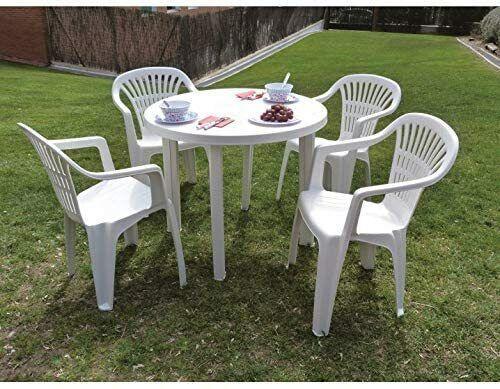 Sedia Bianca con Braccioli Poltroncina in Plastica Impilabile da Giardino PROGAR