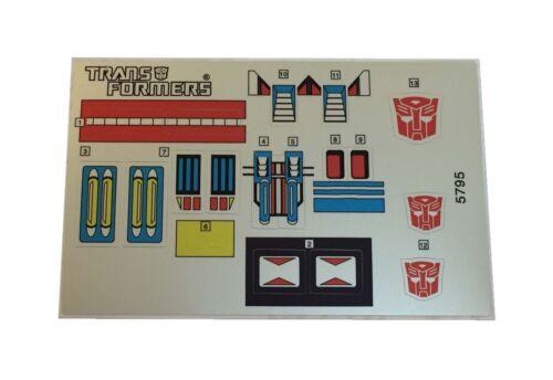 G1 Ultra Magnus Sticker Decal Sheet