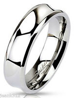 Mens Wedding Band Ring Concaved 7mm Stainless Steel Classic Comfort Fit Polished