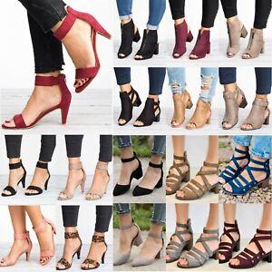 Women-Mid-Low-Block-Heels-Open-Toe-Sandals-Ankle-Strap-Boots-Pumps-Shoes-Size-10