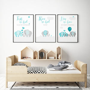 Aqua Teal and Grey Elephant Nursery Wall Art First We Had Each Other