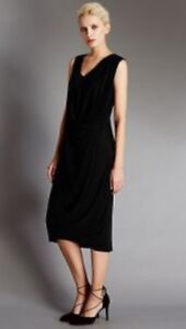 bnwt-MARKS-amp-SPENCER-M-amp-S-AUTOGRAPH-BLACK-JERSEY-DRAPED-MIDI-DRESS-LBD-UK-SIZE-6