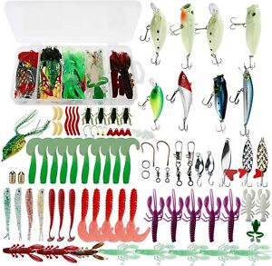 Amarine Made 185PCS Fishing Lures Tackle Kit Set Soft Lures Plastic Worms Bass