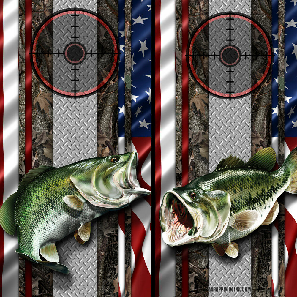 Cornhole Board Wraps US Flag Hunting Fishing Gun Scope Camo Big Mouth Bass Fish