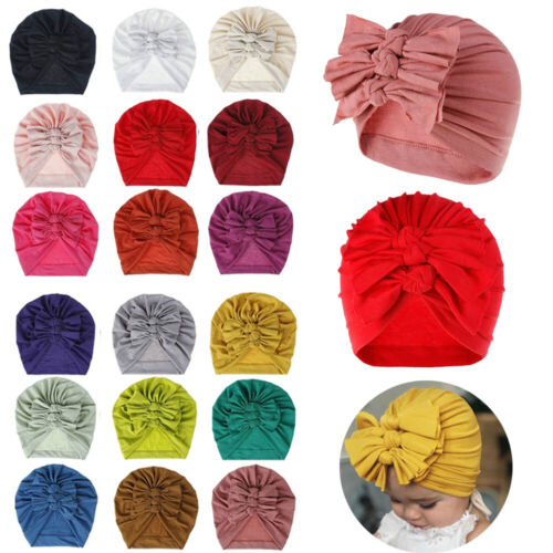 Newborn Girls Headband Hat Cotton Baby Infant Turban Knot Headband Head Wrap