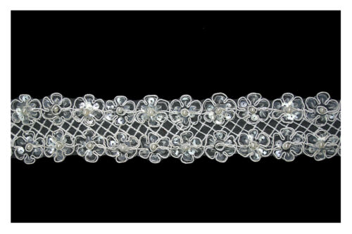 """2.25/"""" 7 Color Pick Collection Sheer Organza Embroidered Trim Bead Sequin By Yard"""