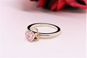 88a45a904 PANDORA 14 K YELLOW GOLD & STERLING PINK HEART RHODOLITE CZ RING ...