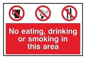 1x NO EATING,DRINKING OR SMOKING in This Area Warning Sticker for Home Door Park