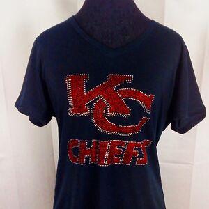 Women s Kansas City Chiefs Rhinestone Football T Shirt Tee Bling ... 02d4387e4