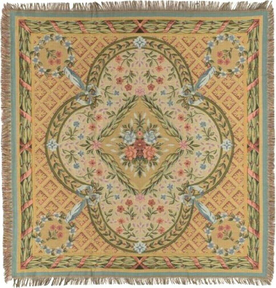 NEW 60  SAVONNERIE BELGIAN TAPESTRY TABLE CHAIR THROW BED SPREAD 717