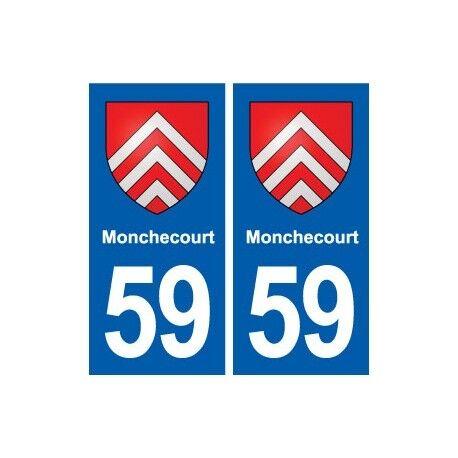 59 Monchecourt blason autocollant plaque stickers ville -  Angles : droits