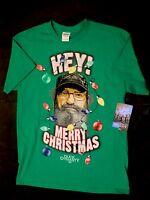 Duck Dynasty Christmas Mens Medium Tshirt Shirt Si Green