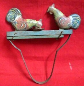 Antique-Litho-Printed-Hen-Cock-Tin-Toy-Mechanical-Squeeze-Litho-Tin-Toy